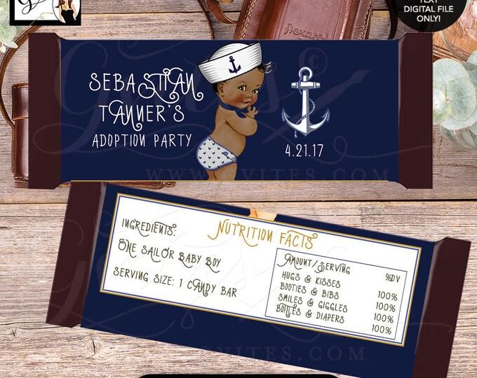 Nautical Candy bar wrapper, little sailor BABY BOY, chocolate customizable, adoption party. 2-Per/Sheet {You Print}