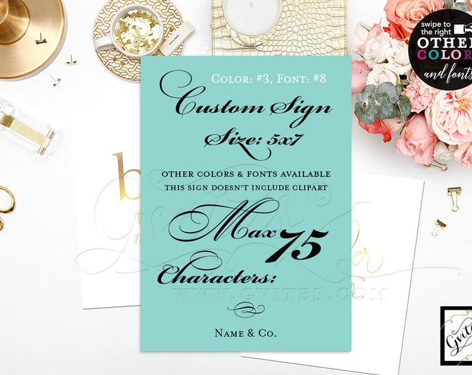"""Wedding Custom Signs, bridal shower thank you cards, dessert, decoration, cards, customizable text, colors and fonts 5x7"""" Gvites."""