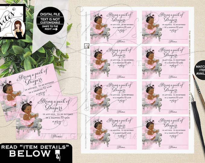 Diaper Raffle Tickets Pink Silver Princess Baby Shower African American Invite Inserts 3.5x2.5, 8/Sheet {Feathers: Silver/White/Pink Crown}