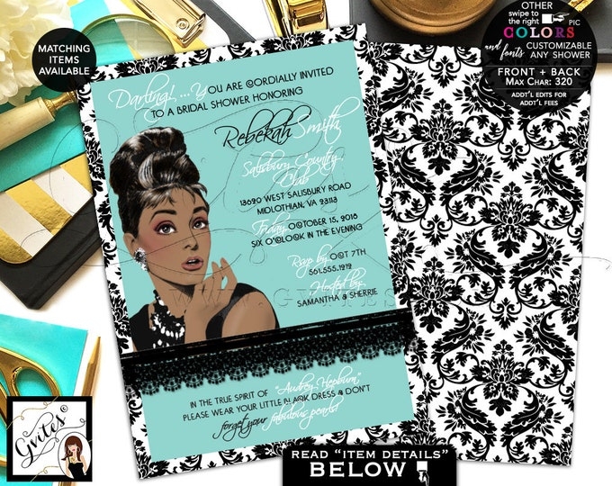 """Audrey Hepburn Bridal Shower Invitation, African American, Breakfast at and co themed, diamonds pearls, 5x7"""" double sided."""