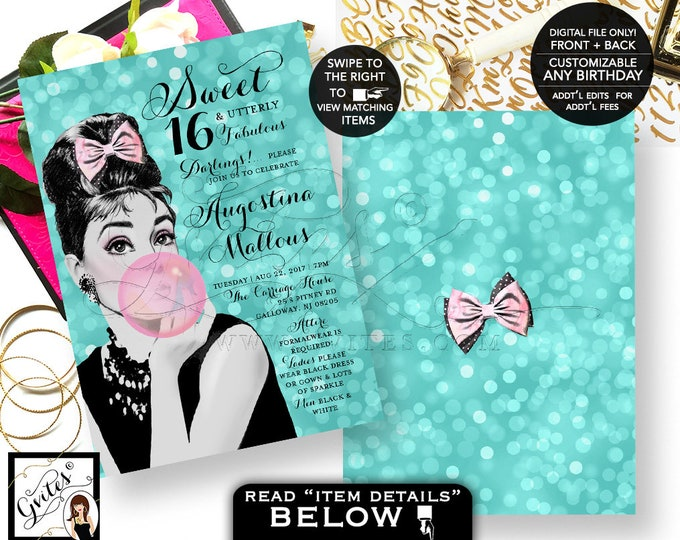 "Breakfast at Audrey Hepburn Sweet 16 Invitations, Pink & Blue Bubblegum Printable Party Girl Teen Birthday 5x7""  Digital File Only! {Bokeh}"