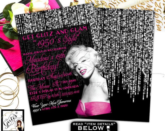 1950s Old Holly Wood Birthday Theme, Marilyn Monroe pink and black, glitz and glam,