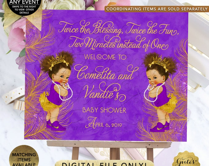 Purple and Gold TWIN Baby Shower Welcome Sign, Princess Decor, Vintage Girl African American Afro Puffs {Purple/Gold Feathers}