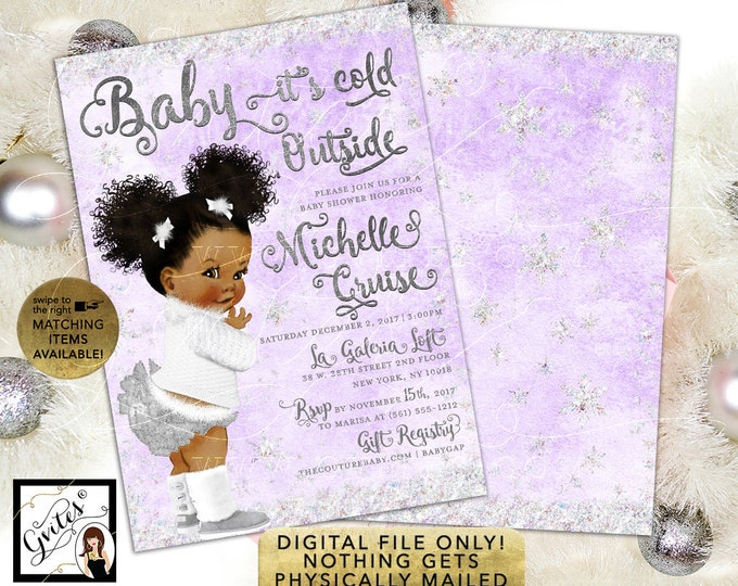 "Lavender and Silver Baby Shower Invitation, Baby its cold outside African American Afro Puffs Curly Vintage Baby, 5x7"" Double Sided."