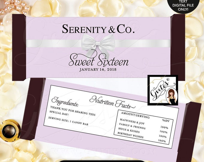 Purple Candy Bar Wrappers, Candy Bar Wrapper Lilac Lavender and white, sweet 16 printable label chocolate 2 Per/Sheet 5.25x5.75