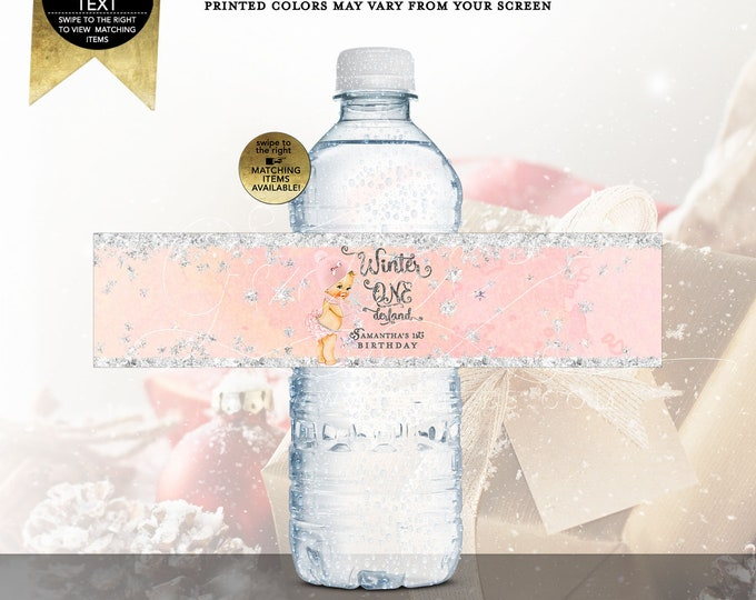 "Winter ONEderland water labels personalized, party decorations. Digital File Only! JPG + PDF Format Size: 8x2"" 5 Per/Sheet"