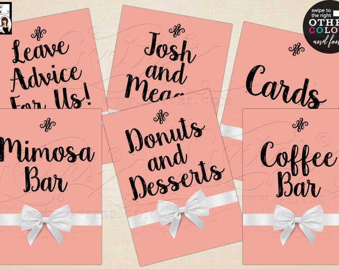 "Bridal Shower Decorations, Food Signs, Cards, Mimosa Bar, Coffee Bar, Gifts, Cards. Max Chars: 20. Set of 6 {4x6"" or 5x7""} Digital File!"