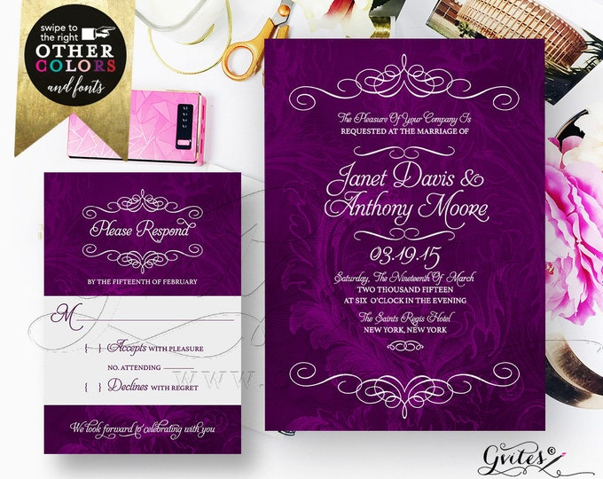 Purple Wedding Invitation Set Response Card, Watercolor Eggplant, Plum, Printable Bridal Invitations, DIY, Digital File, Gvites.