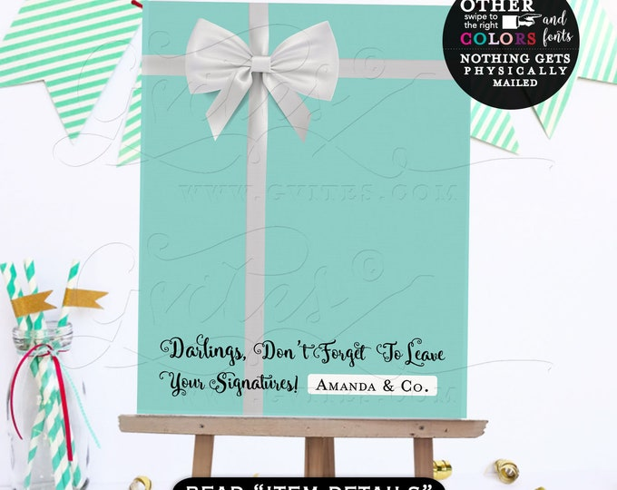 Guest Book Alternative, breakfast at guestbook, please sign our guest book, blue theme poster signs, printable party. {Digital File Only!}