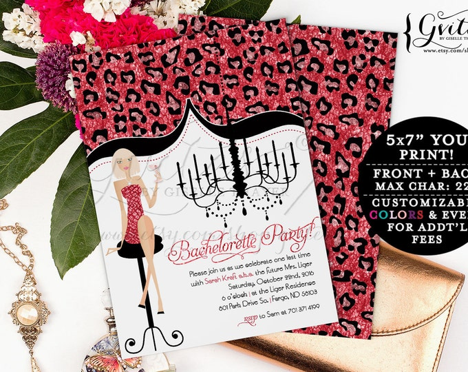 Bling bridal shower, Girls night out, Bachelorette party invitation, Glitter bling glitz and glam, animal print modern invites, designer.