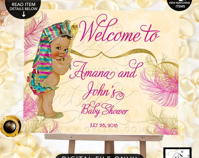 Welcome Sign Egyptian Baby Shower Printable Poster Signs, Pharaoh Digital File, Pink and Gold, DIY, Personalized, Lux Elegant Gvites.
