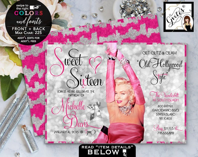 Pink and Silver Marylin Monroe Style Birthday, Vintage Invitations, Sweet Sixteen, Digital File Print, Gvites.