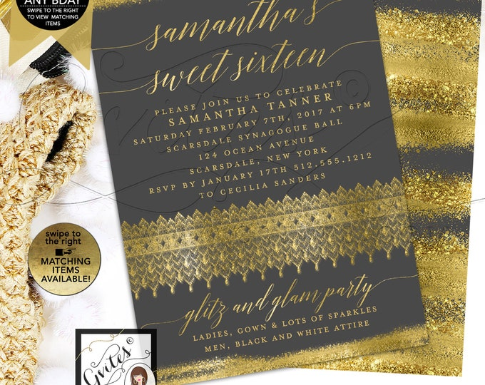 """Charcoal Gray and Gold Invitations, Personalized Invites 