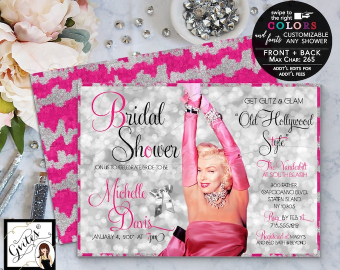 Pink and silver bridal shower Hollywood theme invitation, glitz and glamour, Marilyn Monroe party invites,1950's, digital file 5x7.
