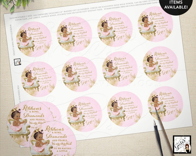 """Pink and gold circle labels or tags, baby shower baby girl, popcorn party favors tags. 2x2"""" 12/Per Sheet. MAX CHAR: 75 {Gold/White Feathers}"""