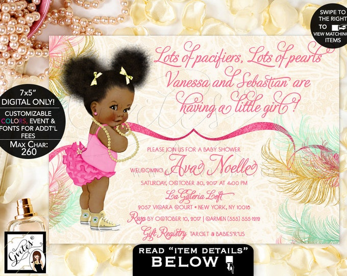 Mint yellow and pink baby shower invitations, lots of pacifies, lots of pearls, baby girl, ethnic afro puffs bows ribbons, digital. Gvites