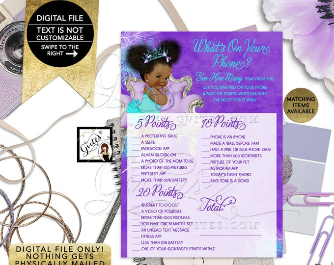 """What's on your phone Baby Shower Game, Purple Lavender Aqua Turquoise, Tiara Princess, Afro Puffs Girl 7x5"""" 2 Per Sheet  {Instant Download}"""