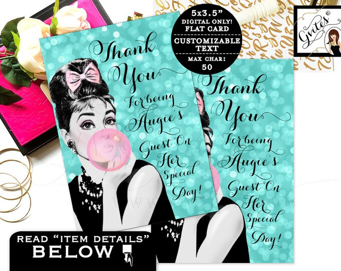 "Thank You Cards Printable Breakfast at Sweet 16 Audrey Hepburn party note cards. Digital. {3.5x5"" 4 Per/Sheet}"