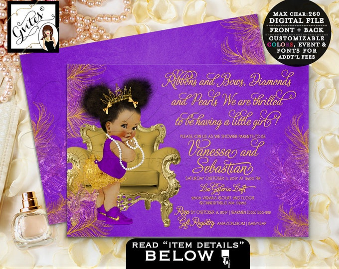 """Purple and gold baby shower invitation, princess african american baby girl, afro puffs, double sided, Afro Puffs TIARA Baby 7x5"""" Gvites"""