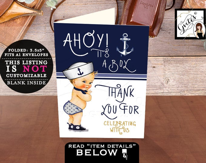 Nautical Baby Shower Thank you Cards Ahoy it's a boy, digital, printable, folded thank you, navy blue and white, little sailor.