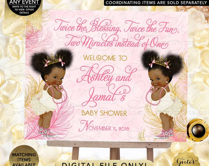 Twins Welcome Pink & Gold Sign Princess African American Girl Afro Puffs | JPG + PDF {Design: TWACE-104} By Gvites