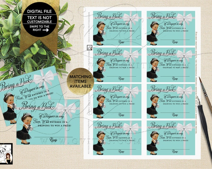 "Baby and Co Party Diaper Raffle Baby Shower Inserts, Printable. 3.5x2.5"" 8/Sheet. {INSTANT DOWNLOAD/Baby: Med Brunette}"