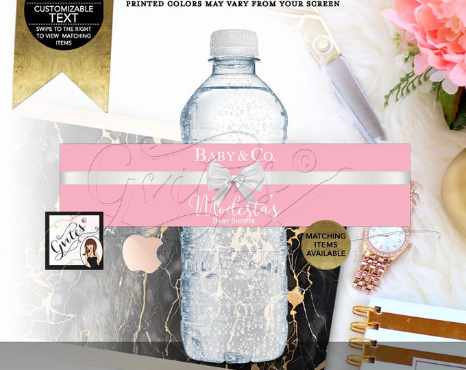 "Baby & Co Water Bottle Labels Stickers breakfast at Pink baby shower label, 8x2""/5 Per Sheet Digital File! {Realistic Satin Ribbon}"