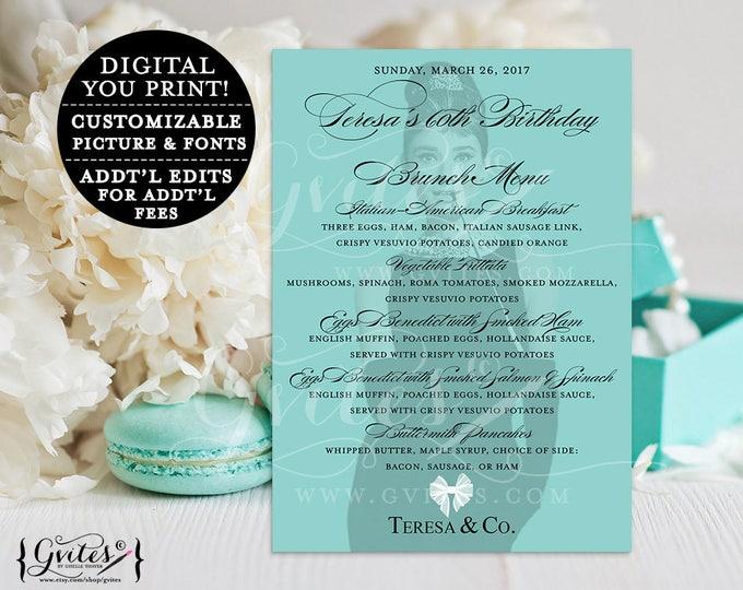Audrey Hepburn customizable birthday menus, printable, 60th Brunch Menu Cards, blue co table, white bow breakfast at themed, 5x7, digital.