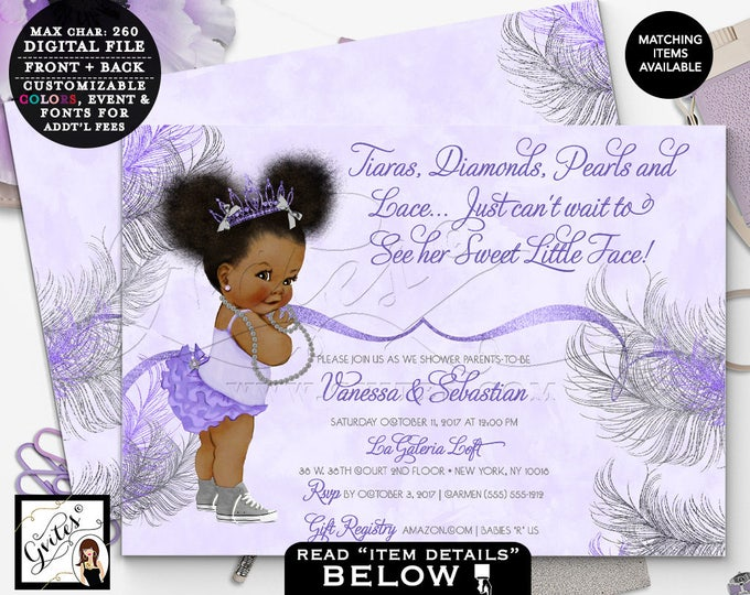 Purple and Silver African American princess, baby shower invitation, tiaras bows, diamonds pearls, 7x5 double sided. Afro Puffs. Gvites