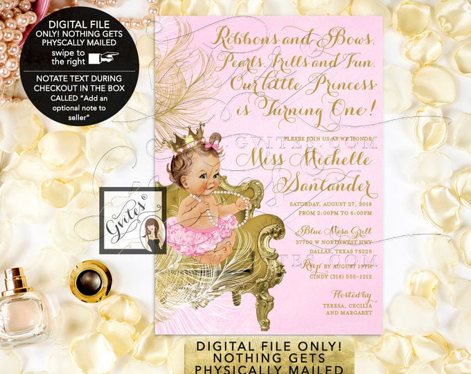 """Pink and Gold First Birthday Invitations Princess Girl Vintage Invites. Fancy Crown, Ribbons and Bows, Pearls, Frills and Fun. Digital, 5x7"""""""