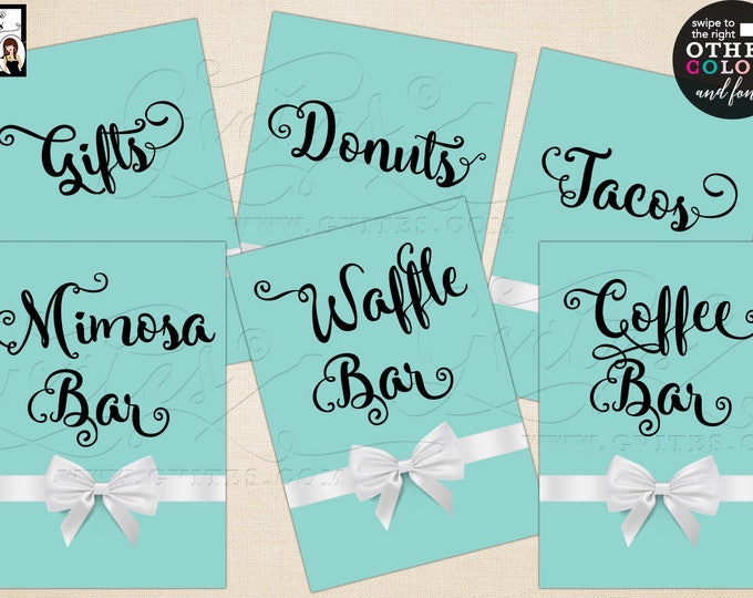 "Personalized Party signs, first birthday, gifts, coffee bar, gifts sign, mimosa bar Max char 20. Set of 6- {4x6"" or 5x7""} Digital File Only!"