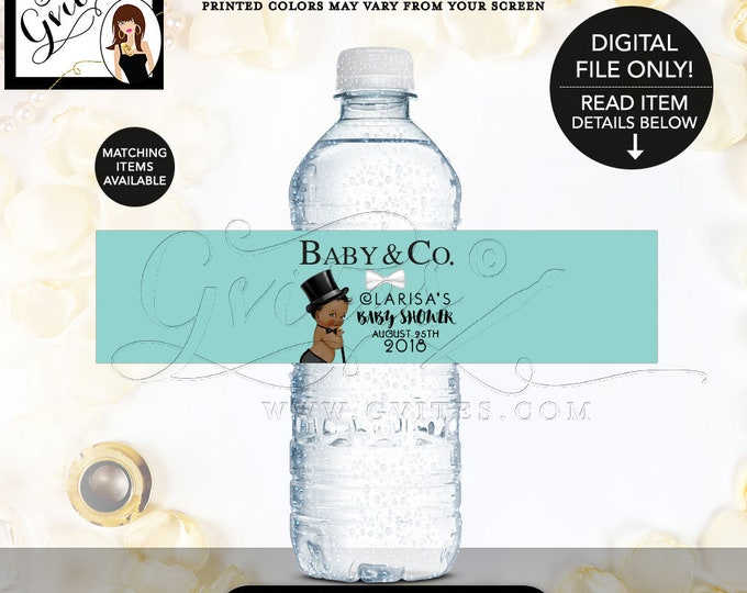 Baby Shower Water Labels, Baby and Co Boy Little Man, African American Party, Stickers Bottle Wrappers, Favors and Gifts, Printable, DIY.