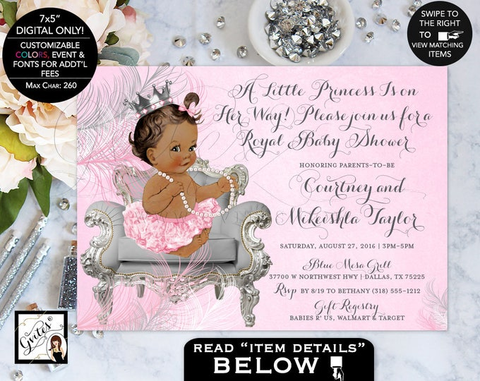 Pink and Silver baby shower invitations, African American princess ribbons bows, diamonds pearls girl {Feathers: Silver/White/Pink Crown}