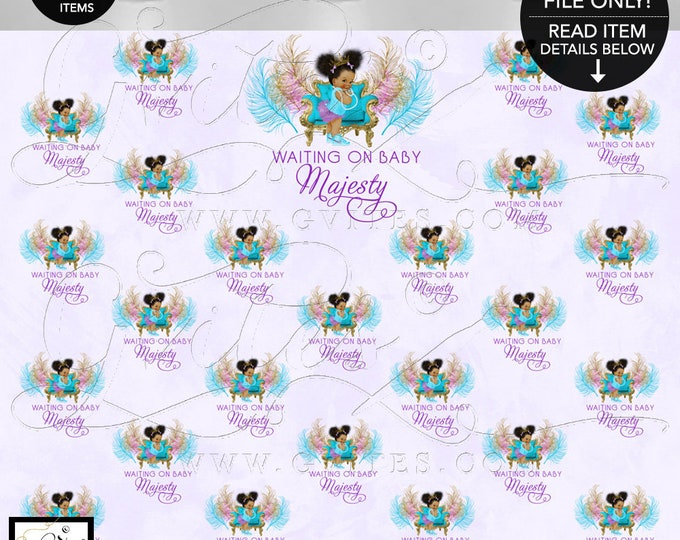 Purple Turquoise Step and Repeat Baby Shower Banner, Backdrop, Photo Booth, Lavender Princess Party Decorations, Digital, Design Fees ONLY!