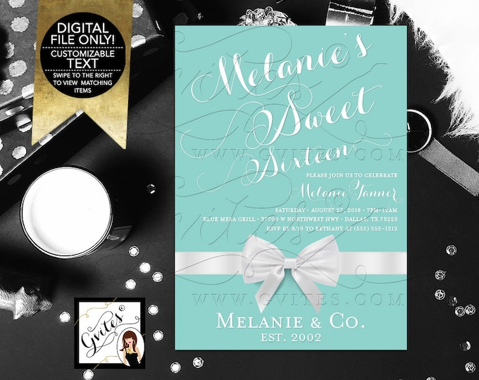 "Sweet 16 Invitation, Turquoise Blue White Bow Ribbon, Teen Party Printable Invites, DIY, Digital File Only, 5x7"" Gvites"