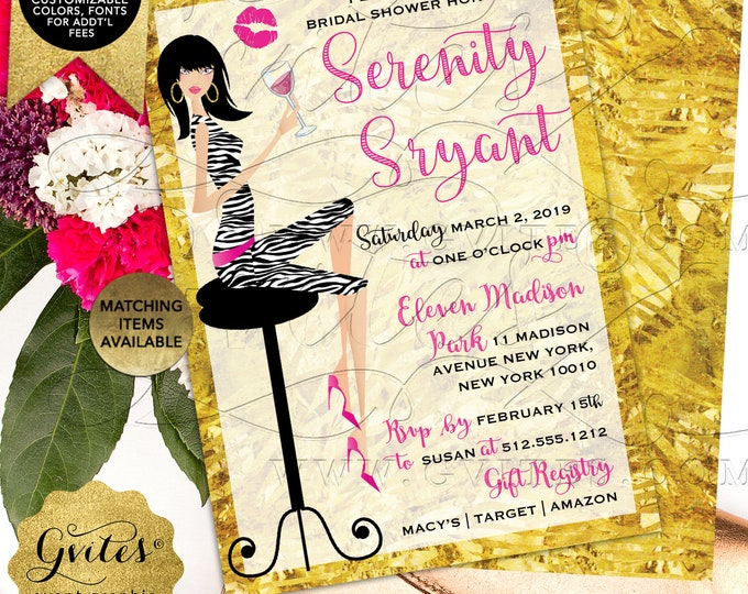 """Pink and Gold Bridal Shower Invitation 
