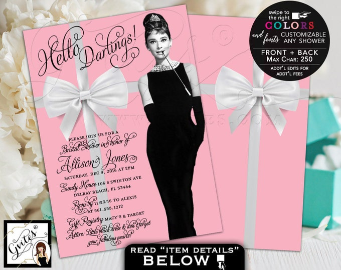 Pink Breakfast at Bridal Shower Invitations, Audrey Hepburn Style, little black dress, 5x7 double sided. Digital File Only! Gvites