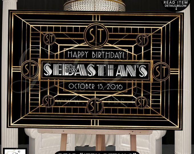 Great Gatsby Dessert table backdrop, backdrop sign, poster, black and gold silver party table back drop sign, Digital File Only!