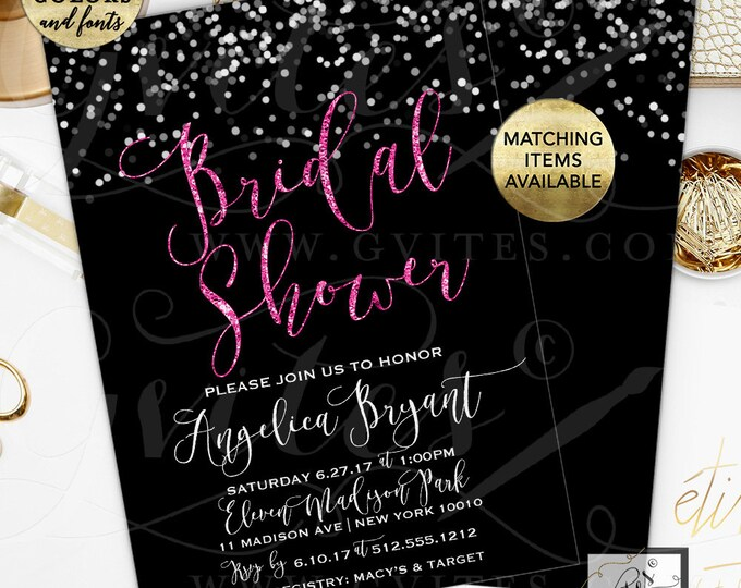 "Bridal Shower Printable Invitation Pink Glitter and Black, Winter Themed Bokeh Digital Background. 5x7"" Double Sided, by Gvites."