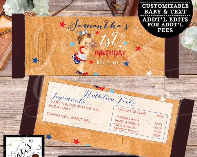 """Fourth of July First Birthday Candy Wrappers First Birthday, chocolate wrapper, candy bar template, PRINTABLE {2 Per/Sheet 5.25 x 5.75""""}"""