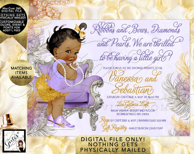 "African American Lavender Gold and Silver Baby Shower Invitations, Ribbons and Bows Diamonds and Pearls. Baby Girl. 7x5"" Digital File Only"