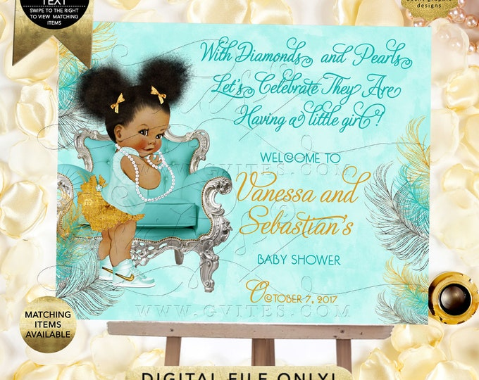 Turquoise Gold and Silver Baby Shower Welcome Signs, Poster, Table Dessert Party Backdrops, Afro Puffs, Vintage Baby Girl, Ethnic, Digital.