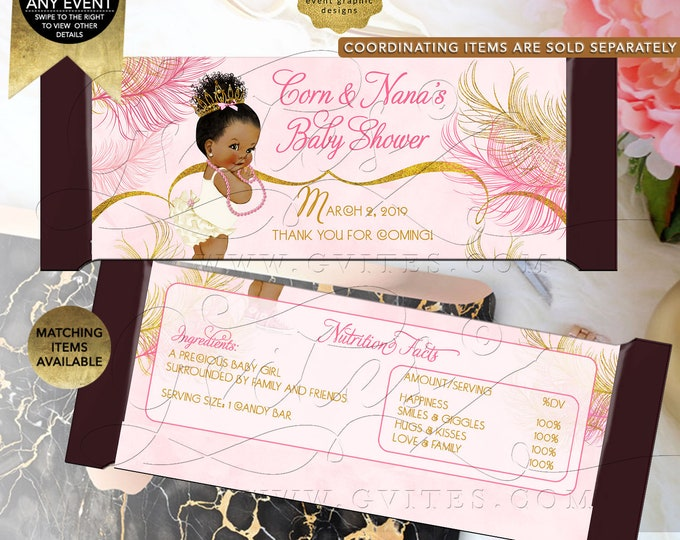 "Pink and Gold Candy Bar Wrappers Baby Shower, African American Princess, Gold Feathers and Ivory. Printable Only!  5.25 x 5.75""/2 Per Sheet"