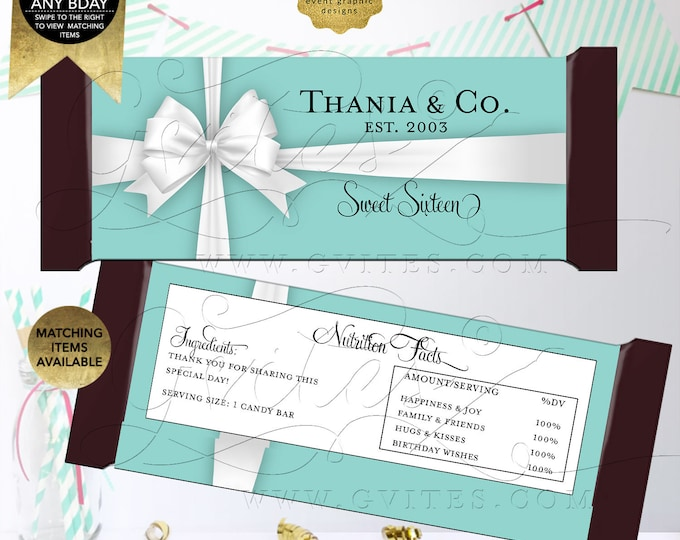 Candy Bar Wrappers | Personalized Party Favors | Printable Digital File | JPG + PDF | Fits candy bar 1.55oz | 5.25x5.75 2/Per Sheet