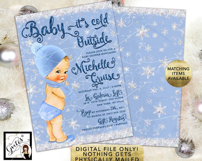 Blue White Silver Baby it's Cold outside Baby Shower BOY Invitation, Winter Wonderland, 5x7 double sided. Gvites