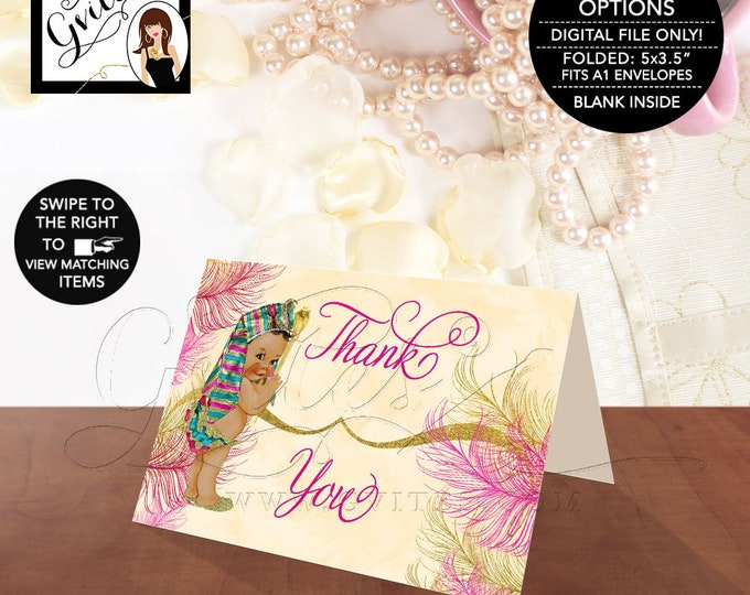 "Baby Shower Thank You Cards Personalized Label Egyptian Baby Shower Printable, Pharaoh Party Digital File, Pink Gold,  {5x3.5"" 4 Per/Sheet}"