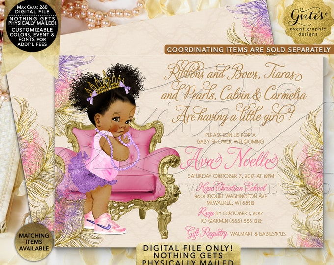 "Pink and Purple & Gold Baby Shower Invitation | Afro Puffs Curly Vintage | Printable Digital File | JPG + PDF | 7x5"" Double Sided"
