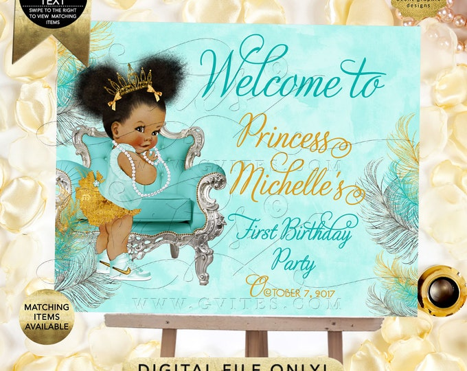 Welcome Signs Turquoise Gold Silver Birthday, 1st/2nd/3rd/4th Party Afro Puffs Princess, Baby Girl Tiara, {Gold/Turquoise/Silver Feathers}