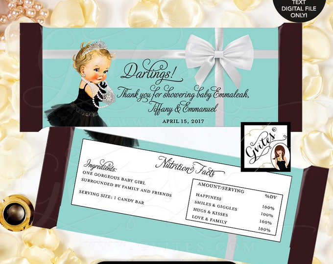 """Breakfast at candy favors, stickers, chocolate candy wrappers, labels, decorations, baby shower. {2 Per/Sheet 5.25 x 5.75""""} #BATGBB102"""