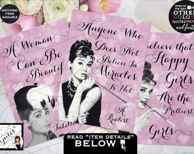 Audrey Hepburn Party Quotes Printable Signs, Centerpiece, Wall Art, Favors, Gifts Decor, Bridal Shower 4x6 or 5x7 {Set of 3} Gvites